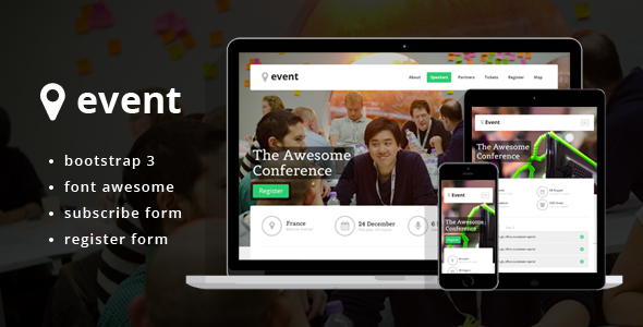 Conference Events Landing Page Template Bootstrap Stage - Event landing page template free