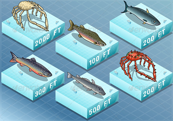 GraphicRiver Isometric Fishes on the Sea 7024720