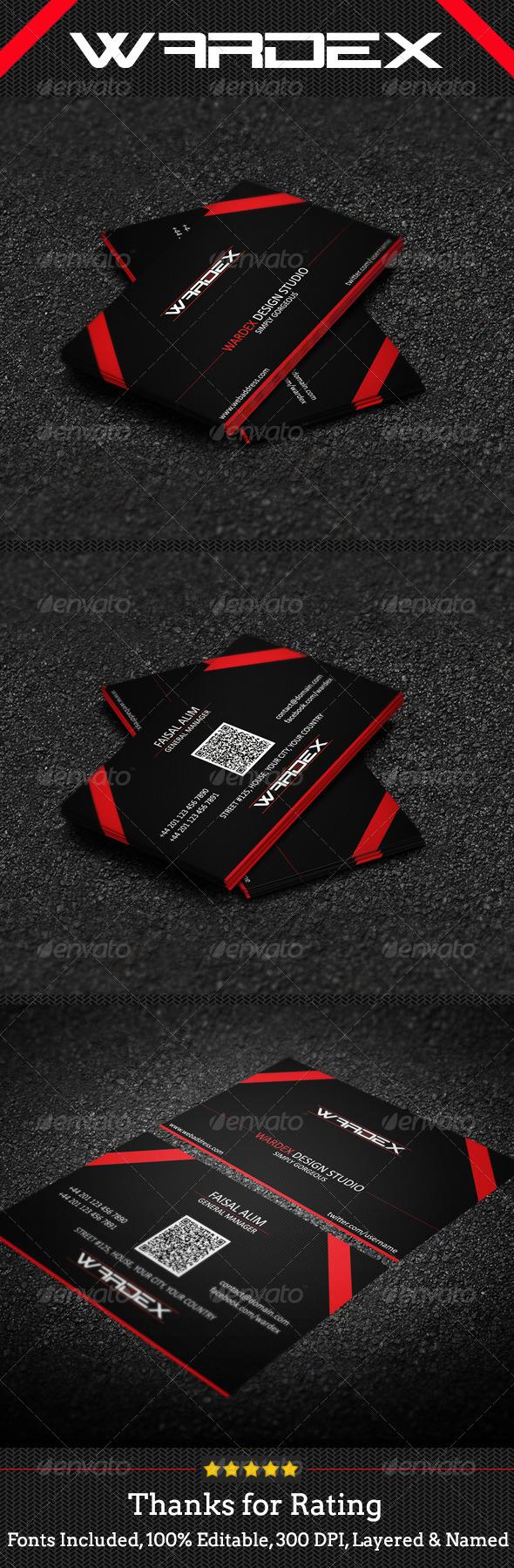 GraphicRiver Redish Black Business Card Design 7026210