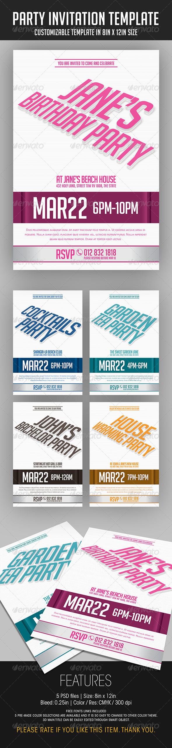 GraphicRiver Party Invitation Template 7026726