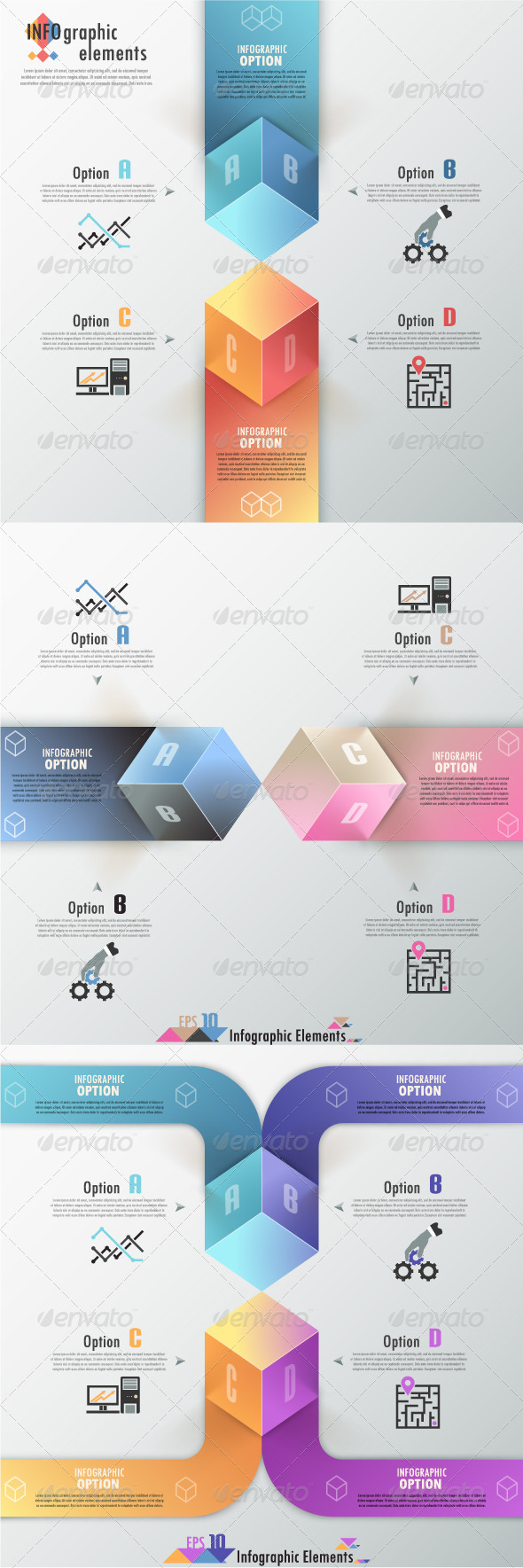 Modern Infographic Options Banner Three Versions