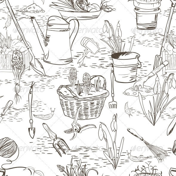 GraphicRiver Seamless Sketch with Gardening Tools 7027079