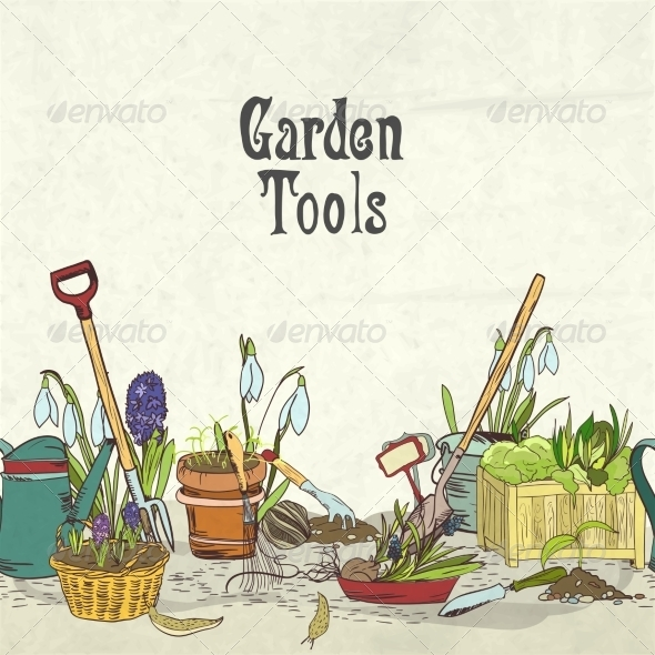 GraphicRiver Hand Drawn Gardening Tools Album Cover 7027084