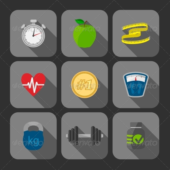 GraphicRiver Fitness Exercises Progress Icons Set 7027102