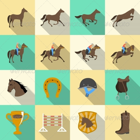 GraphicRiver Horseback Riding Flat Shadows Icons Set 7027116