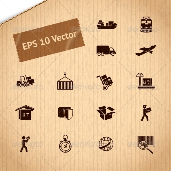 GraphicRiver Logistic Transportation Service Icons Set 7027178