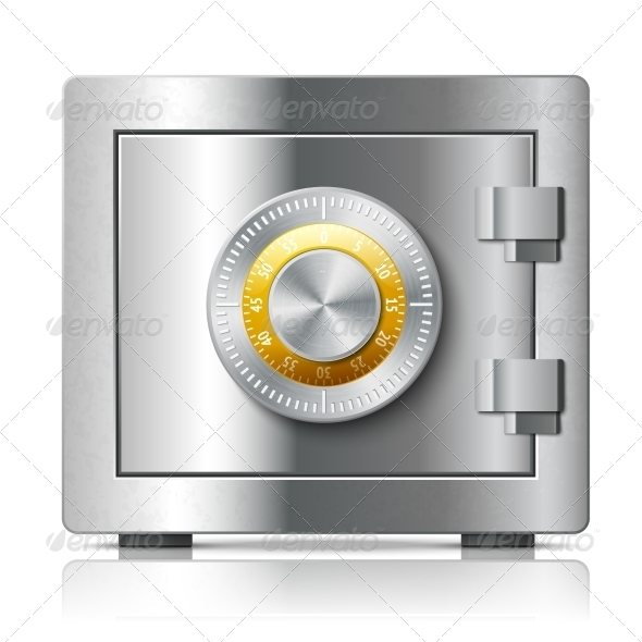 GraphicRiver Realistic Steel Safe Icon Security Concept 7027241