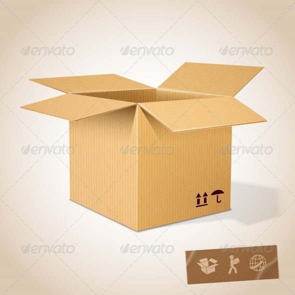 GraphicRiver Open Realistic Cardboard Box 7027291