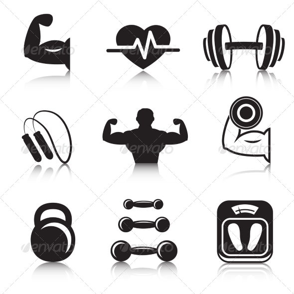 GraphicRiver Fitness Bodybuilding Sport Icons Set 7027321