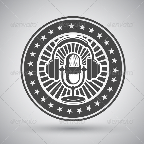 GraphicRiver Retro Microphone and Headphones Emblem 7027334