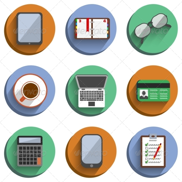 GraphicRiver Business Set Workplace Icons 7027559