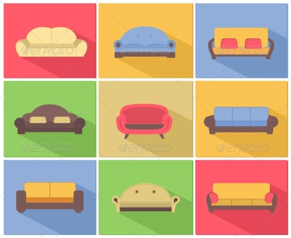 GraphicRiver Sofas and Couches Icons Set 7027601