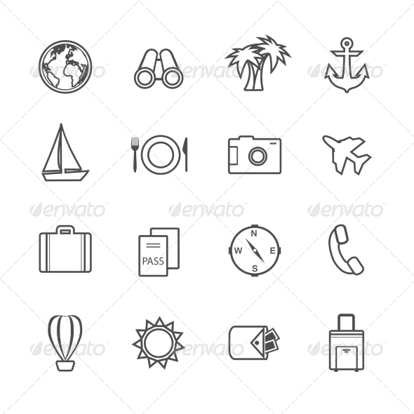 GraphicRiver Vacation Leisure Pictograms Set 7027605
