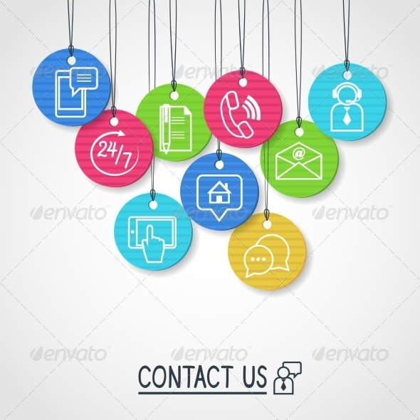 GraphicRiver Contact Us Cardboard Labels and Tags Set 7027606
