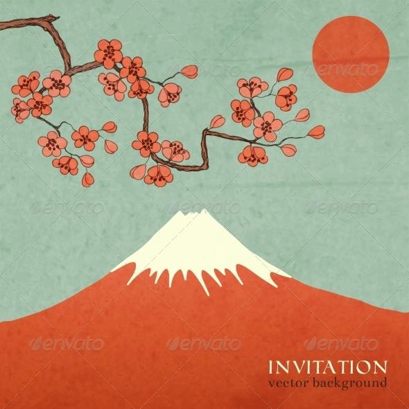 GraphicRiver Blossom Cherry or Sakura Mountain 7027953