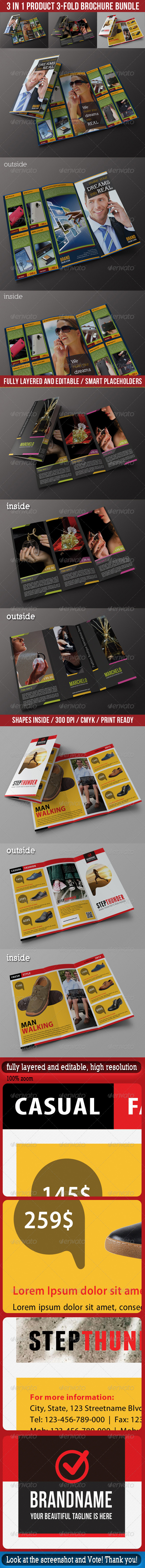 GraphicRiver 3 in 1 Product 3-Fold Brochure Bundle 01 7028538
