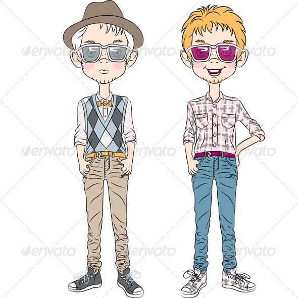GraphicRiver Hipster Cartoon Boys 7029041