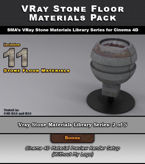 11 VRay Stone Floor Materials for Cinema 4D - 3DOcean Item for Sale