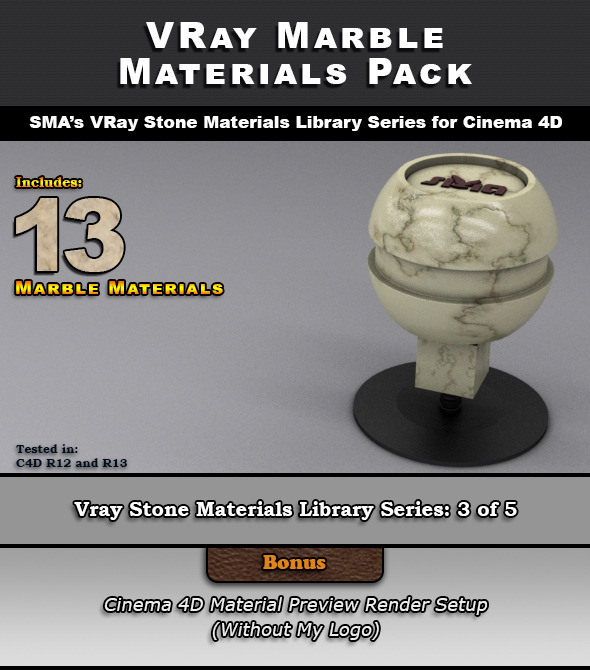 13 VRay Marble Materials for Cinema 4D - 3DOcean Item for Sale