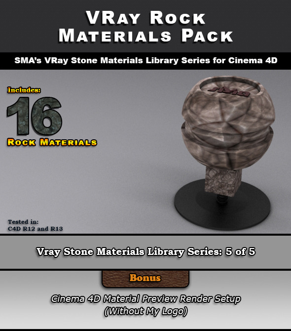 3DOcean 16 VRay Rock Materials for Cinema 4D 7029282