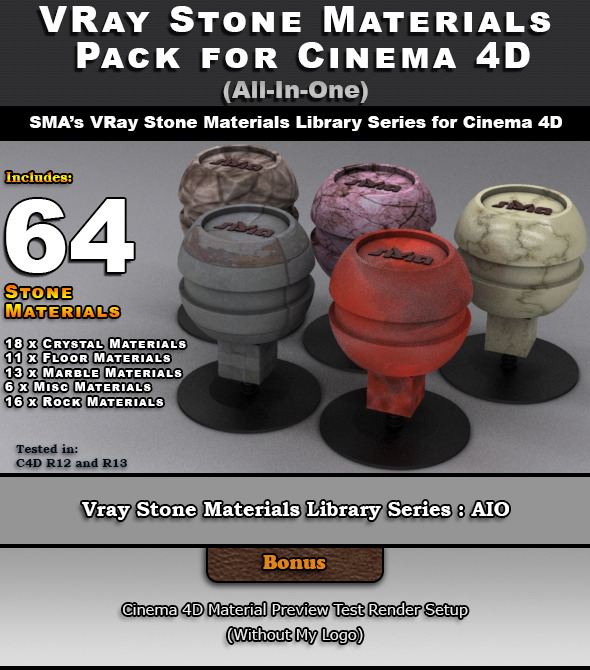64 VRay Stone Materials Pack (AIO) for Cinema 4D - 3DOcean Item for Sale