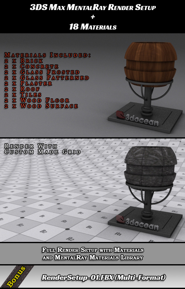 3DOcean Render Setup for 3DS Max & 18 Materials 7029546