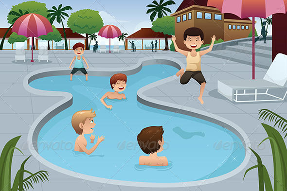 GraphicRiver Kids Playing in an Outdoor Swimming Pool 7029686
