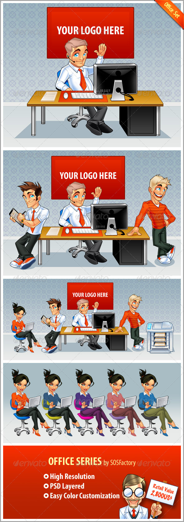Graphic River Office Set Graphics -  Illustrations  Characters 725067