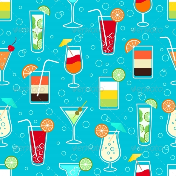 GraphicRiver Seamless Drinks Pattern 7029853