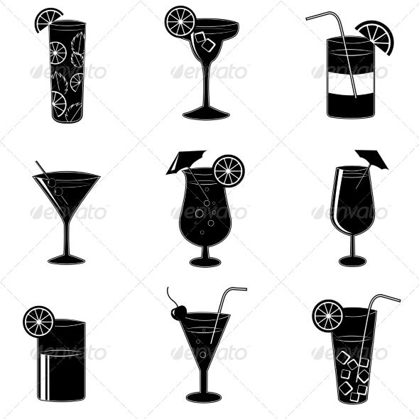 GraphicRiver Pictograms of Party Cocktails with Alcohol 7029855