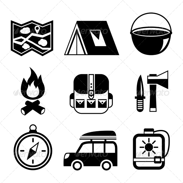 GraphicRiver Outdoors Tourism Camping Flat Pictograms Set 7029875