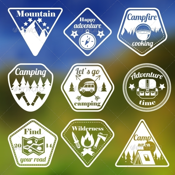 GraphicRiver Outdoors Tourism Camping Flat Emblems Set 7029929