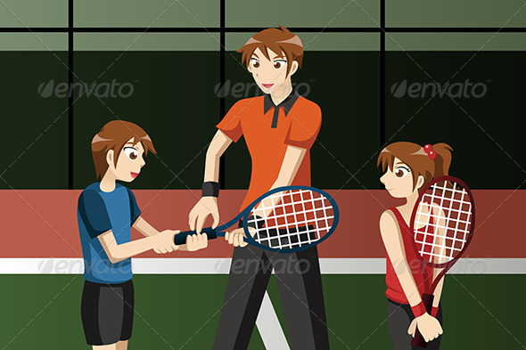 GraphicRiver Kids in a Tennis Club with the Instructor 7029934