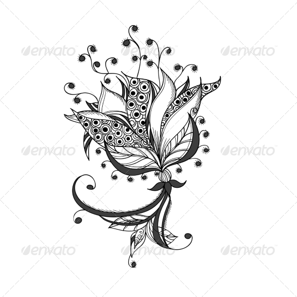 GraphicRiver Fantasy Flower Black and White Tattoo Pattern 7030202