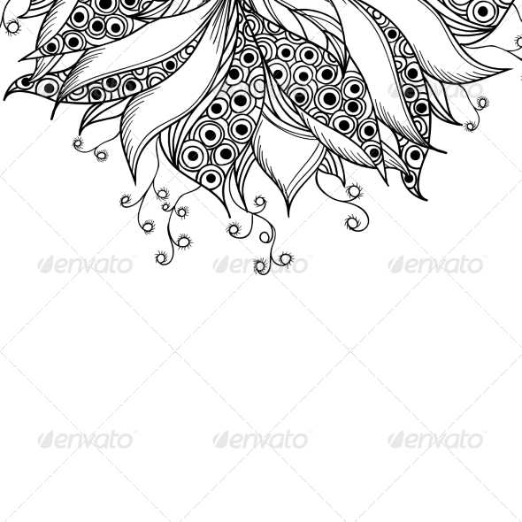 GraphicRiver Card Template with Fantasy Black and White Flower 7030203