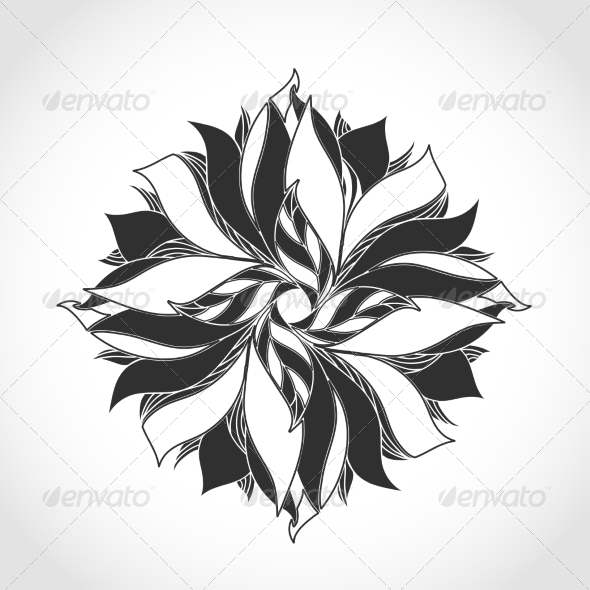 GraphicRiver Fantasy Flower Black and White Tattoo Pattern 7030207