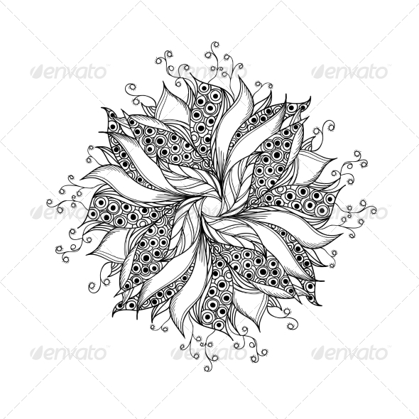 GraphicRiver Fantasy Flower Black and White Tattoo Pattern 7030244
