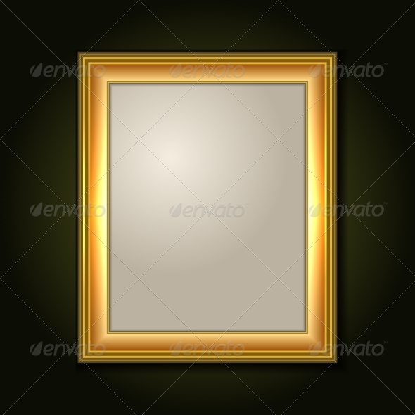 GraphicRiver Gold Picture Frame with Light Canvas 7030570