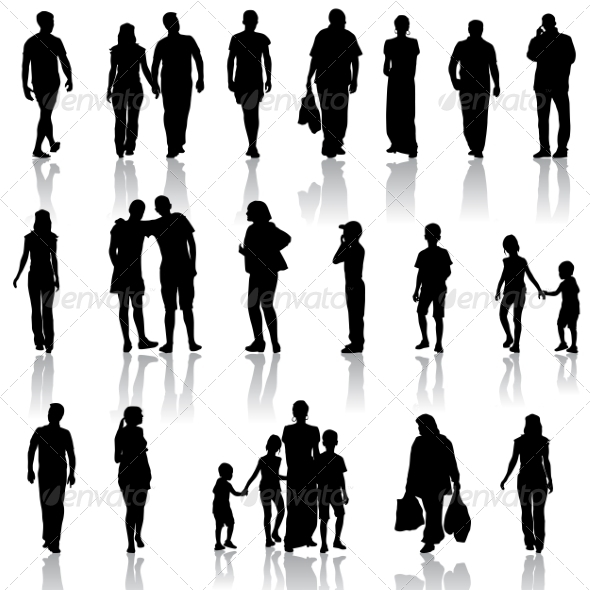 GraphicRiver Black Silhouettes of Men and Women 7030846