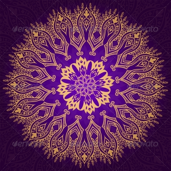 GraphicRiver Round Vintage Violet and Gold Pattern 7031137