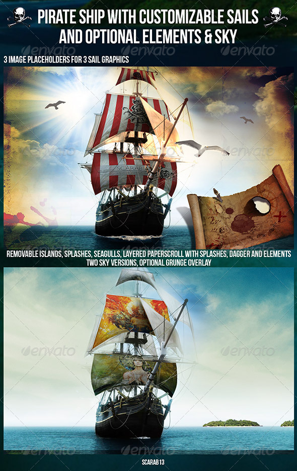 GraphicRiver Customizable Pirate Ship with 3 Sail Image 7031291