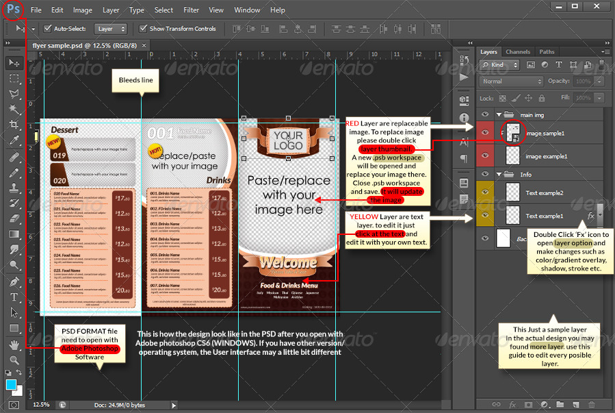 tri fold restaurant menu template by shamcanggih