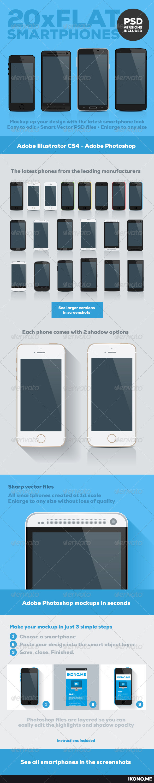 GraphicRiver 20 Flat Smartphones 7031416