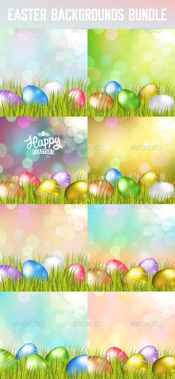 GraphicRiver Easter Eggs Backgrounds Bundle 7032070