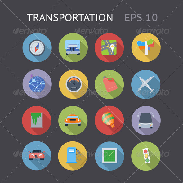 GraphicRiver Flat Icons For Transportation 7032115