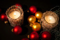 Two candles with christmas-tree decoration - PhotoDune Item for Sale