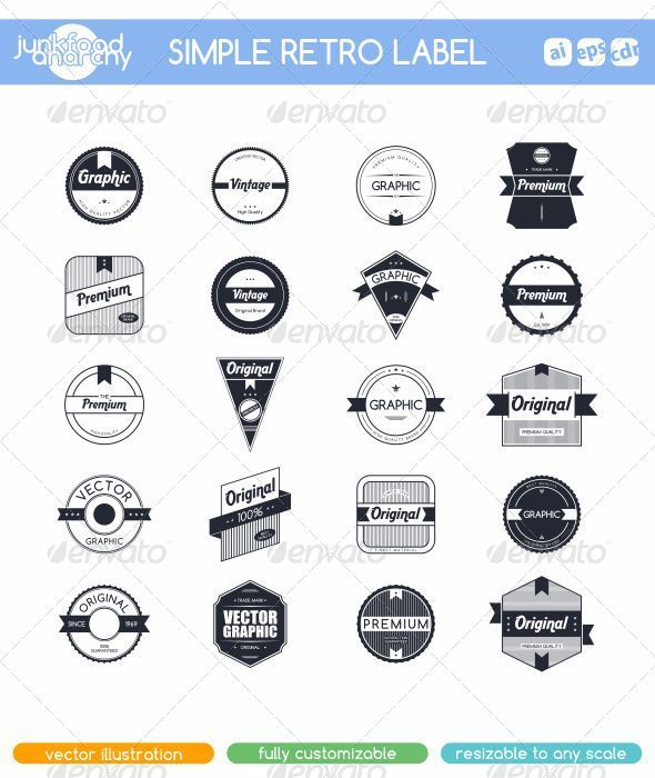 GraphicRiver 20 Simple Retro Label Set 6951287