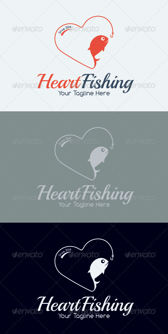 GraphicRiver Heart Fishing Logo Template 7033541