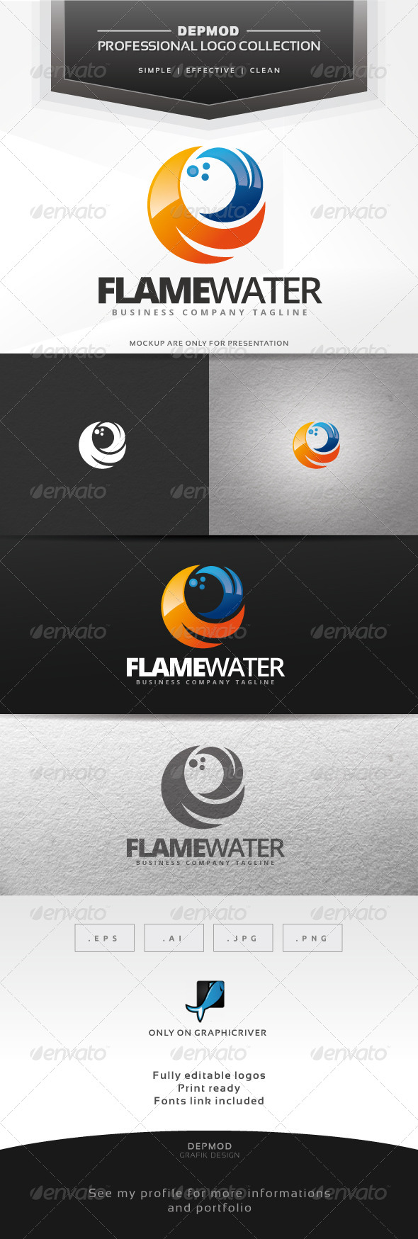 GraphicRiver Flame Water Logo 7033614