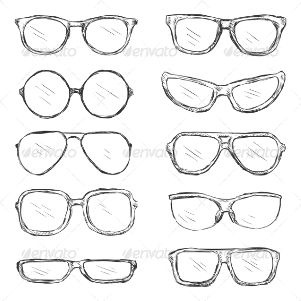 GraphicRiver Vector Set of Sketch Eyeglass Frames 7033665